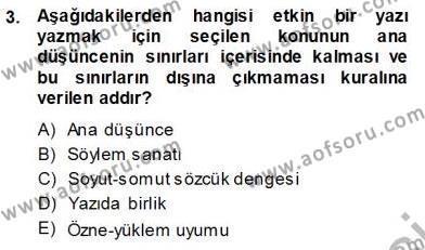 Mesleki Yazışmalar Dersi 2013 - 2014 Yılı Ara Sınavı 3. Soru