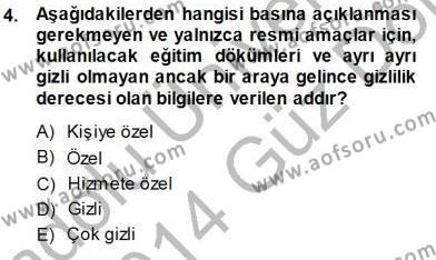 Mesleki Yazışmalar Dersi 2013 - 2014 Yılı Dönem Sonu Sınavı 4. Soru