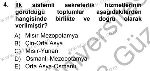 Yönetici Asistanlığı Dersi Ara Sınavı Deneme Sınav Soruları 4. Soru