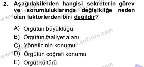 Yönetici Asistanlığı Dersi 2014 - 2015 Yılı Ara Sınavı 2. Soru