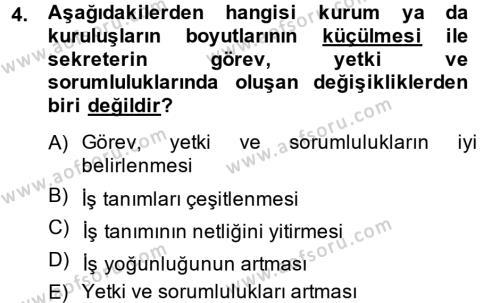 Yönetici Asistanlığı Dersi 2014 - 2015 Yılı Ara Sınavı 4. Soru