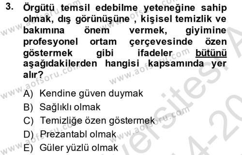 Yönetici Asistanlığı Dersi 2014 - 2015 Yılı Tek Ders Sınav Soruları 3. Soru