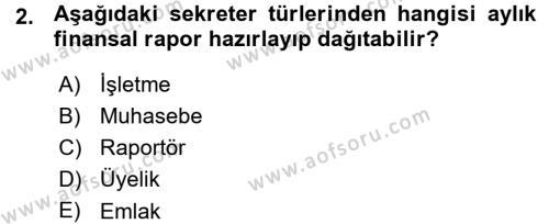 Yönetici Asistanlığı Dersi 2015 - 2016 Yılı Ara Sınavı 2. Soru