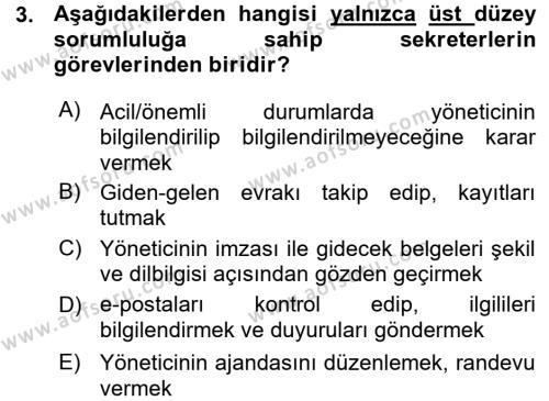 Yönetici Asistanlığı Dersi 2015 - 2016 Yılı Ara Sınavı 3. Soru