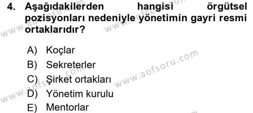 Yönetici Asistanlığı Dersi 2015 - 2016 Yılı Ara Sınavı 4. Soru