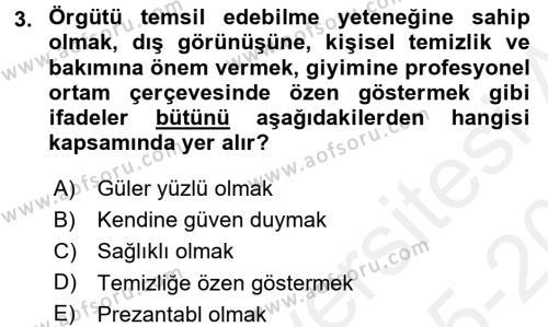 Yönetici Asistanlığı Dersi 2015 - 2016 Yılı Tek Ders Sınav Soruları 3. Soru