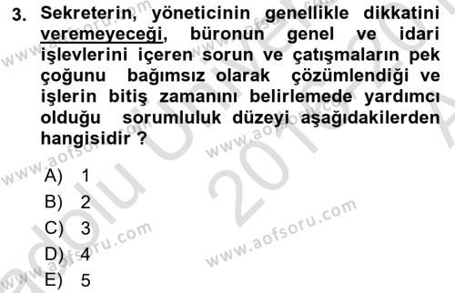Yönetici Asistanlığı Dersi 2016 - 2017 Yılı (Vize) Ara Sınav Soruları 3. Soru