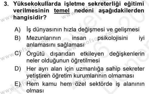 Yönetici Asistanlığı Dersi 2016 - 2017 Yılı (Final) Dönem Sonu Sınav Soruları 3. Soru