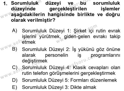 Yönetici Asistanlığı Dersi 2017 - 2018 Yılı (Vize) Ara Sınavı 1. Soru