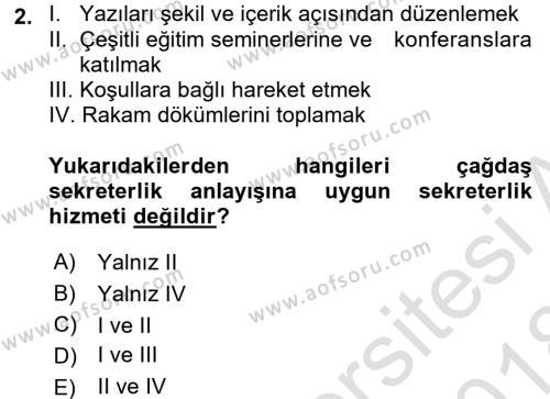 Yönetici Asistanlığı Dersi 2017 - 2018 Yılı (Vize) Ara Sınavı 2. Soru