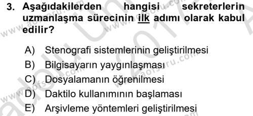 Yönetici Asistanlığı Dersi 2017 - 2018 Yılı (Vize) Ara Sınavı 3. Soru