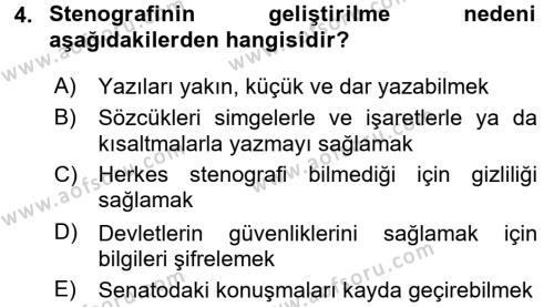 Yönetici Asistanlığı Dersi 2017 - 2018 Yılı (Vize) Ara Sınavı 4. Soru