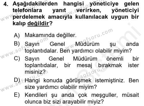 Yönetici Asistanlığı Dersi 2017 - 2018 Yılı (Final) Dönem Sonu Sınav Soruları 4. Soru