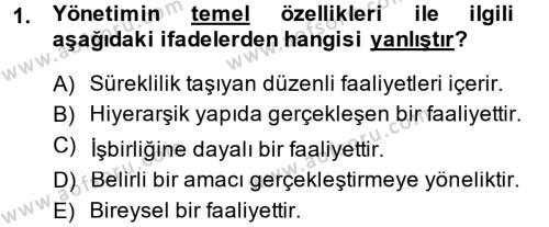 Kamu Özel Kesim Yapısı Ve İlişkileri Dersi 2013 - 2014 Yılı Ara Sınavı 1. Soru