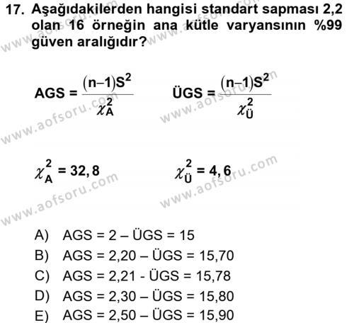 Coğrafi Bilgi Sistemleri İçin Temel İstatistik Dersi Ara Sınavı Deneme Sınav Soruları 17. Soru