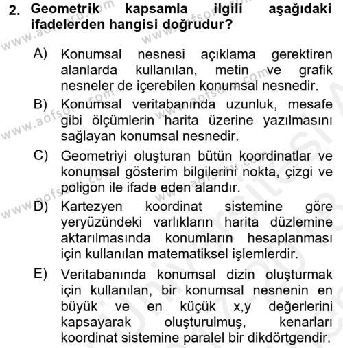 Konumsal Veritabanı 2 Dersi 2017 - 2018 Yılı (Final) Dönem Sonu Sınav Soruları 2. Soru