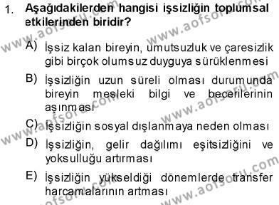 Sosyal Bilimler Bölümü 1. Yarıyıl Sosyal Politika Dersi 2014 Yılı Güz Dönemi Ara Sınavı 1. Soru