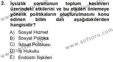 Sosyal Politika Dersi 2013 - 2014 Yılı Tek Ders Sınavı 2. Soru