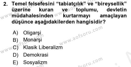 Sosyal Politika Dersi 2018 - 2019 Yılı (Vize) Ara Sınav Soruları 2. Soru