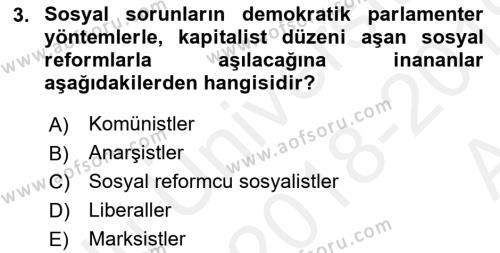 Sosyal Politika Dersi 2018 - 2019 Yılı (Vize) Ara Sınav Soruları 3. Soru