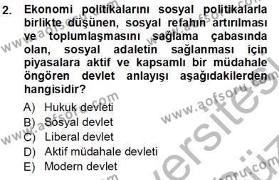 Sosyal Politika 1 Dersi 2012 - 2013 Yılı Ara Sınavı 2. Soru