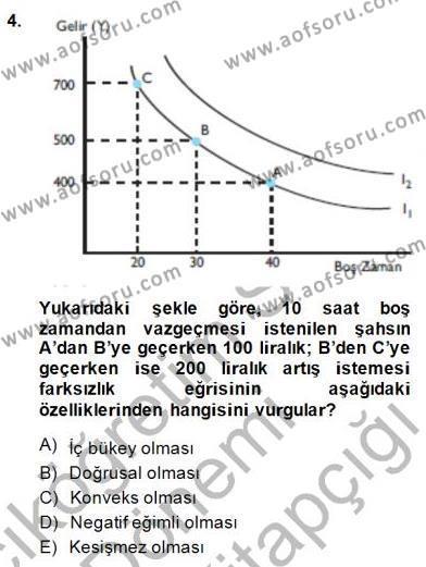 Çalışma Ekonomisi ve Endüstri İlişkileri Bölümü 3. Yarıyıl Çalışma Ekonomisi I Dersi 2015 Yılı Güz Dönemi Dönem Sonu Sınavı 4. Soru