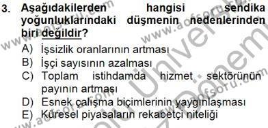 Çalışma İlişkileri Tarihi Dersi 2012 - 2013 Yılı Dönem Sonu Sınavı 3. Soru