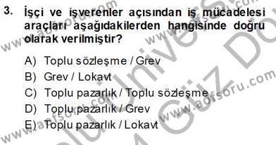 Çalışma İlişkileri Tarihi Dersi 2013 - 2014 Yılı Ara Sınavı 3. Soru