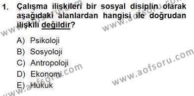 Çalışma İlişkileri Tarihi Dersi 2014 - 2015 Yılı Dönem Sonu Sınavı 1. Soru