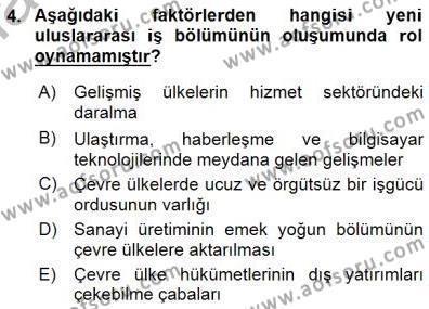 Çalışma İlişkileri Tarihi Dersi 2015 - 2016 Yılı (Final) Dönem Sonu Sınav Soruları 4. Soru