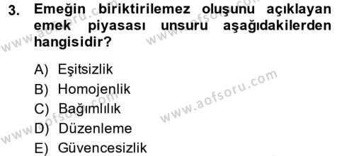 İstihdam ve İşsizlik Dersi 2013 - 2014 Yılı Ara Sınavı 3. Soru