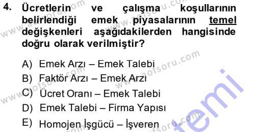 İstihdam ve İşsizlik Dersi 2013 - 2014 Yılı Ara Sınavı 4. Soru