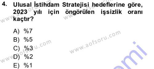 Çalışma Ekonomisi ve Endüstri İlişkileri Bölümü 5. Yarıyıl İstihdam ve İşsizlik Dersi 2014 Yılı Güz Dönemi Dönem Sonu Sınavı 4. Soru