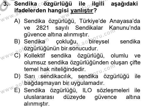 İnsan Kaynakları Yönetimi Bölümü 2. Yarıyıl Sendikacılık Dersi 2013 Yılı Bahar Dönemi Ara Sınavı 3. Soru