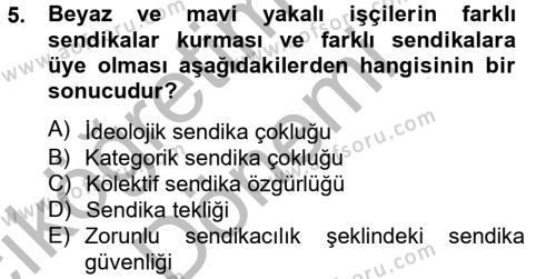 İnsan Kaynakları Yönetimi Bölümü 2. Yarıyıl Sendikacılık Dersi 2013 Yılı Bahar Dönemi Ara Sınavı 5. Soru