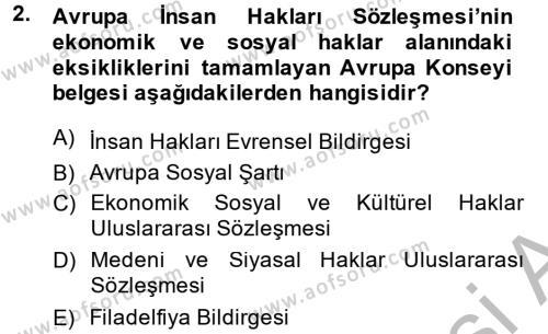 Sendikacılık Dersi 2013 - 2014 Yılı Dönem Sonu Sınavı 2. Soru