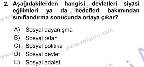Sosyal Bilimler Bölümü 3. Yarıyıl Sosyal Güvenlik Dersi 2016 Yılı Güz Dönemi Dönem Sonu Sınavı 2. Soru
