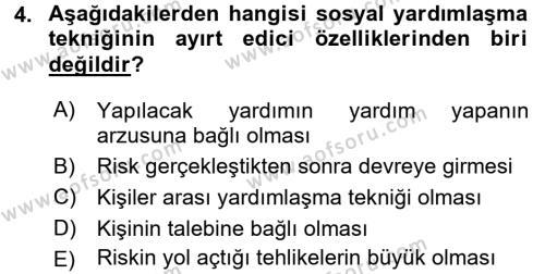 Sosyal Bilimler Bölümü 3. Yarıyıl Sosyal Güvenlik Dersi 2016 Yılı Güz Dönemi Dönem Sonu Sınavı 4. Soru