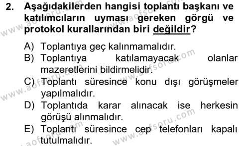 İnsan Kaynakları Yönetimi Bölümü 2. Yarıyıl Toplantı Ve Sunu Teknikleri Dersi 2013 Yılı Bahar Dönemi Ara Sınavı 2. Soru
