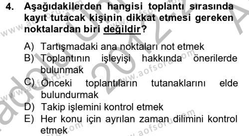 Toplantı Ve Sunu Teknikleri Dersi 2012 - 2013 Yılı Ara Sınavı 4. Soru