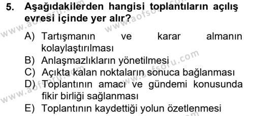İnsan Kaynakları Yönetimi Bölümü 2. Yarıyıl Toplantı Ve Sunu Teknikleri Dersi 2013 Yılı Bahar Dönemi Ara Sınavı 5. Soru