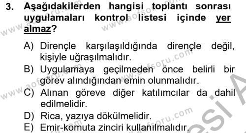Toplantı Ve Sunu Teknikleri Dersi 2012 - 2013 Yılı Dönem Sonu Sınavı 3. Soru