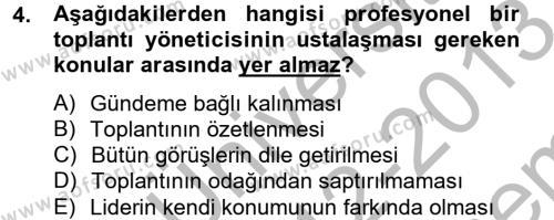 Toplantı Ve Sunu Teknikleri Dersi 2012 - 2013 Yılı Dönem Sonu Sınavı 4. Soru