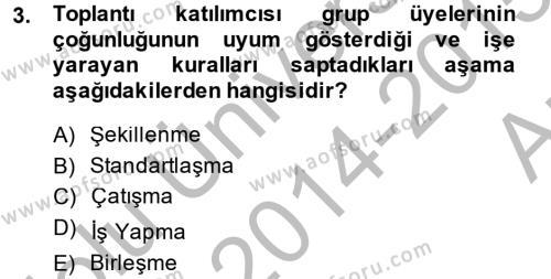 Toplantı Ve Sunu Teknikleri Dersi 2014 - 2015 Yılı Ara Sınavı 3. Soru