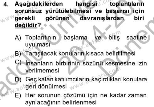 Toplantı Ve Sunu Teknikleri Dersi 2014 - 2015 Yılı (Final) Dönem Sonu Sınavı 4. Soru
