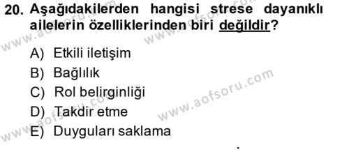 Çatışma ve Stres Yönetimi 2 Dersi Ara Sınavı Deneme Sınav Soruları 20. Soru