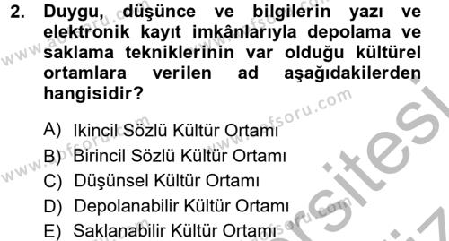Halk Edebiyatına Giriş 1 Dersi 2012 - 2013 Yılı Ara Sınavı 2. Soru