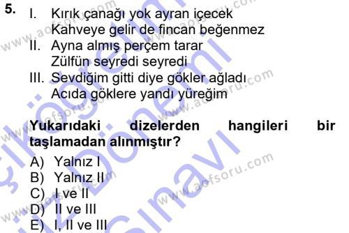 Türk Dili ve Edebiyatı Bölümü 1. Yarıyıl Halk Edebiyatına Giriş I Dersi 2013 Yılı Güz Dönemi Dönem Sonu Sınavı 5. Soru