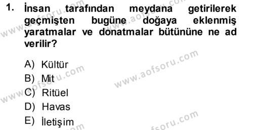 Halk Edebiyatına Giriş 1 Dersi 2013 - 2014 Yılı Dönem Sonu Sınavı 1. Soru