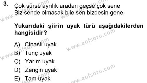 Halk Edebiyatına Giriş 1 Dersi 2014 - 2015 Yılı Dönem Sonu Sınavı 3. Soru